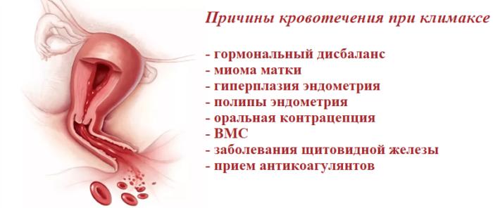 Причины кровотечения при климаксе