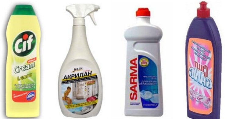 Для мытья душевой кабины подойдут разные чистящие средства